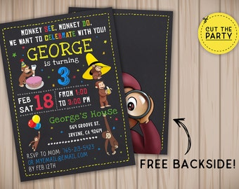 Curious George Invitation Curious George Invite Curious