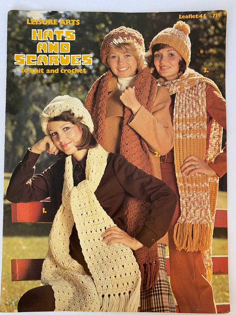 Hats and Scarves Vintage Crochet Knit scarf Knit hat Beret Leisure Arts Crochet Scarf Knit and Crochet Crochet Hat Leaflet 45