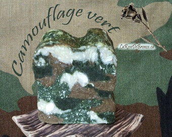 Camouflage soap armed green blue pink handmade soap