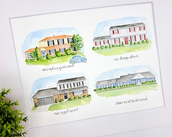 Custom House Portrait with Multiple Homes | Watercolor Home Painting | Personalized Housewarming Gift | The House that Built Me | Our Homes