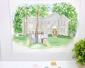 Custom House Portrait with Faceless Family Portrait | Watercolor Home Painting with Family | Personalized Housewarming Gift | Our First Home