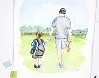 Walking Watercolor Portrait | Custom Family Painting | Walking with Children | Grandparent Gift | Walking with Grandchildren | Dad