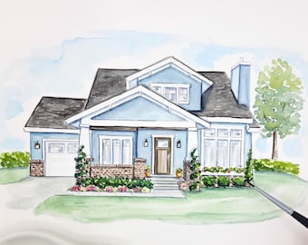 Custom House Portrait | Watercolor Home Painting | Personalized Housewarming Gift | Our First Home | The House that Built Me