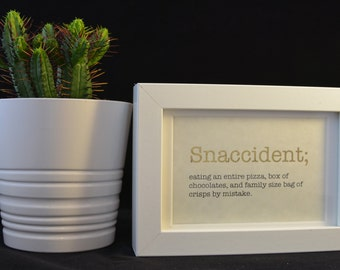 Urban Dictionary Wall Art / Snaccident Definition / Dictionary Art / Funny Definition / Word Art