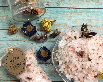 Wildflower bath soak, Botanical Bath Salts, Bath Spa, Herbal Bath Salts, Aromatherapy bath, Bath gift, Herbal Bath Soak, Bath Tea, Calming