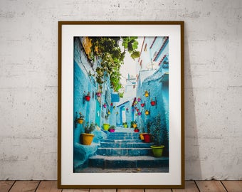 Color splash of Chefchaouen, Morocco - Physical fine art photography print