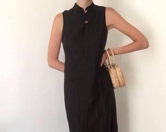 Vintage Linen Black Dress