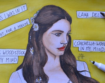 Comic painting of Lana Del Rey - Coachella Woodstock In My Mind from Lust For Life