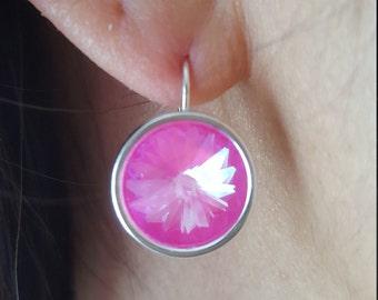 Hot Pink Swarovski Droplet Earrings