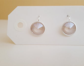 Smooth Taupe Swarovski Droplet Earrings