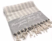 Embroidered Turkish Towel, Beach Wedding Gift for Couple, Personalized Scarf, Shawl, Gray