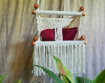 Baby hammock swing chair macrame free cushion included. Hanging baby chair. Baby chair swing.  Christmas gift. Baby room chair.
