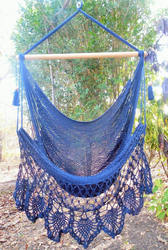 Large Hammock Chair With Crochet Edge Blue Color Fast Etsy
