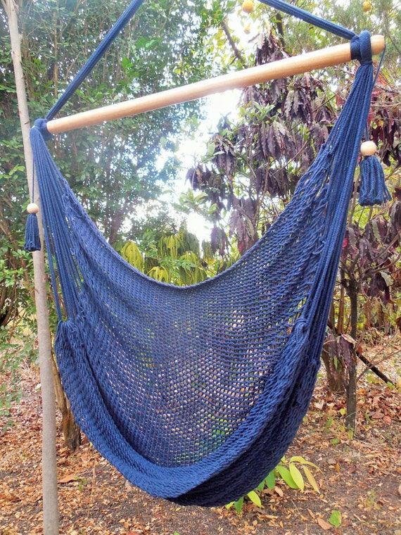 Hand Woven Hammock Chair Blue Color With Cotton And Wood . | Etsy
