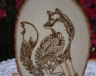 Nature Themed Wood Burned Fox
