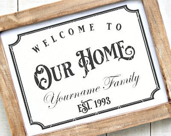 Welcome To Our Home Svg File - Custom Svg Files - Customizable Svg - Personalizable Svg - Welcome Svg File - Editable Svg File