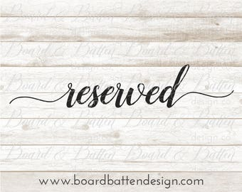 Reserved Svg File - Reserved Dxf File - Reserved Cut File - Wedding Words Svg Files - Wedding Table Card Svg - Bridal Cut File