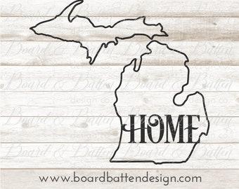 MI State Outline Svg File - Michigan Cut File - MI Home Svg Files - Michigan Cutting File - MI Home Svg -  Dxf for Silhouette Cricut