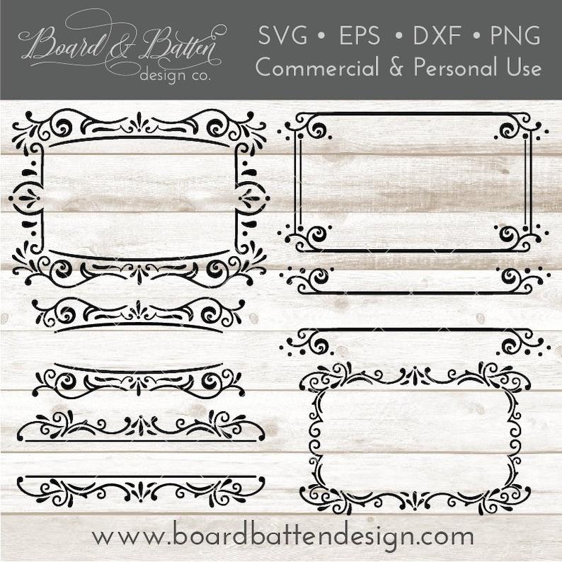 Flourish Frame SVG Set for Silhouette & Cricut - Vintage Style Vector Frame  Bundle - Fancy digital Frames - Digital Download Commercial use