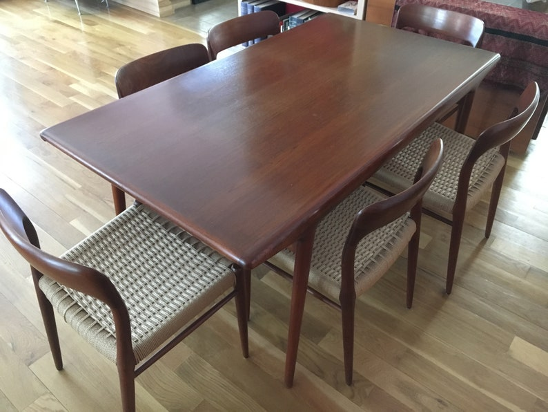 Moeller Six Chairs And Large Expanding Dining Table DENMARK 1960