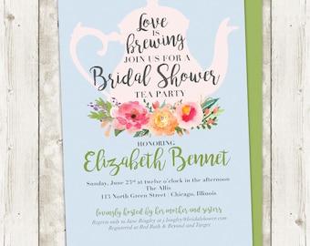floral bridal shower invitation tea party bridal shower invitation custom printable invitation