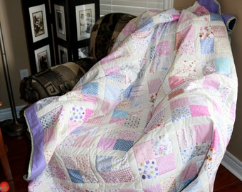 Handmade Twin Size Pastel Quilt