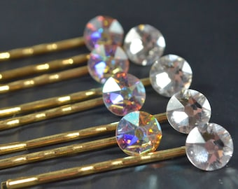 Swarovski Crystal Bobby Pins. Iridescent Crystal Hair Pin Set. Gold Xirius Rose Hairpins. Bridal & Wedding Accessories.