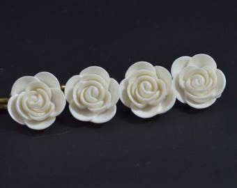 Gardenia Bobby Pins. White Flower Hairpins. White Begonia Hair Jewelry. DIY Project Bobby Pin Set. Wedding, Bridal, Flower Girl Accessories