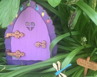 Elf Door, Fairy Door, Purple Wooden Door, Minature door, Opening Elf or Fairy Door, childrens decor, gift ides, childrens gift