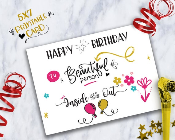 Happy Birthday To A Beautiful Person Inside And Outprintable Etsy