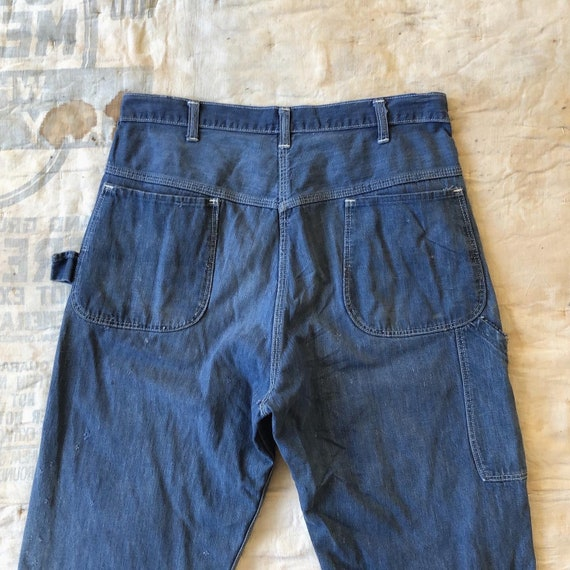 50's/60's distressed denim carpenter pants 32""