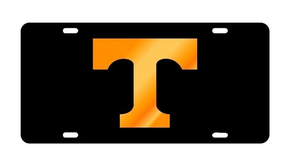 UNIVERSITY of TENNESSEE Black Mirrored License Plate / Tag- Made in USA