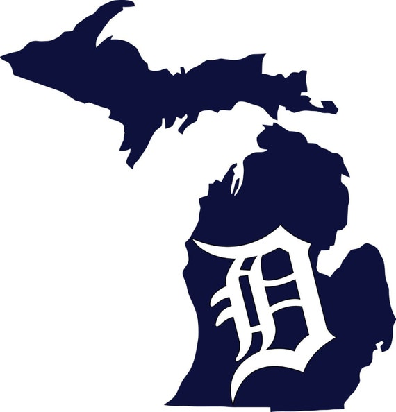 detroit tigers old english d state of michigan etsy