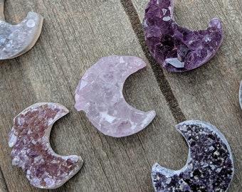 Unique Small Amethyst Crystal Crescent Moon Decoration (READ DESCRIPTION)
