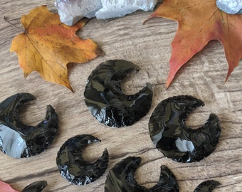 Obsidian Moon Carvings - Obsidian Gemstone Crescent Moon Carving