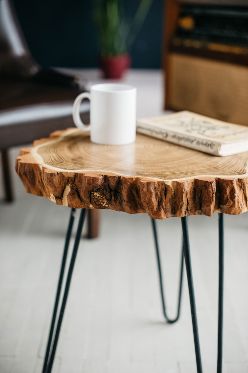 Round Coffee Table Live Edge Coffee Table Rustic Wood Slab Etsy