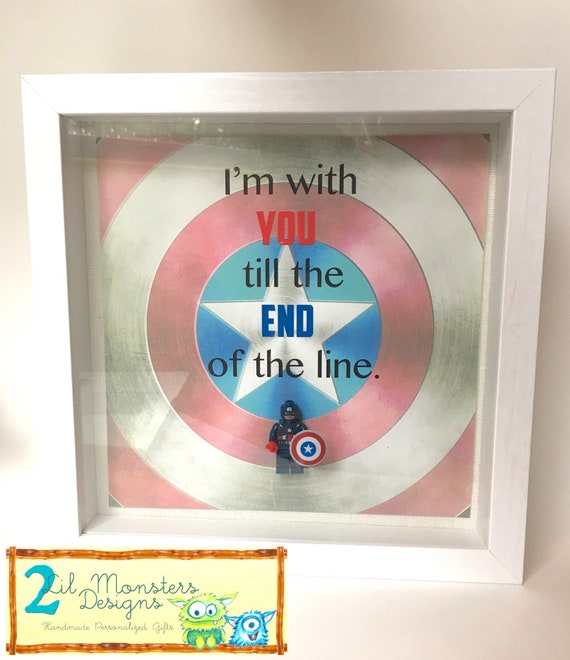 Customizable Captain America Shadowbox Frame. Captain America inspirational  Quote-personalizable- Father\'s Day- birthday- godfather