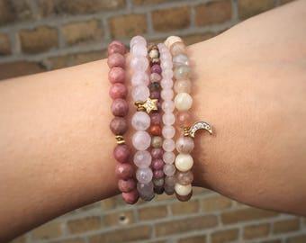 Rose Quartz Bracelet, 6 mm Faceted Round Rose Quartz Bracelet, Beaded Bracelet, Stretch Bracelet, Yoga Bracelet, Stacking bracelet, Chakra