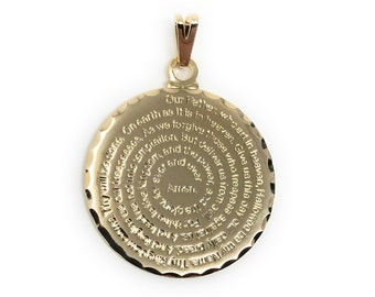 Our Father Prayer Charm Christian Pendant English (2 Pcs) Lord's Prayer Medal Padre Nuestro Oracion Medallion Religious Jewelry Making