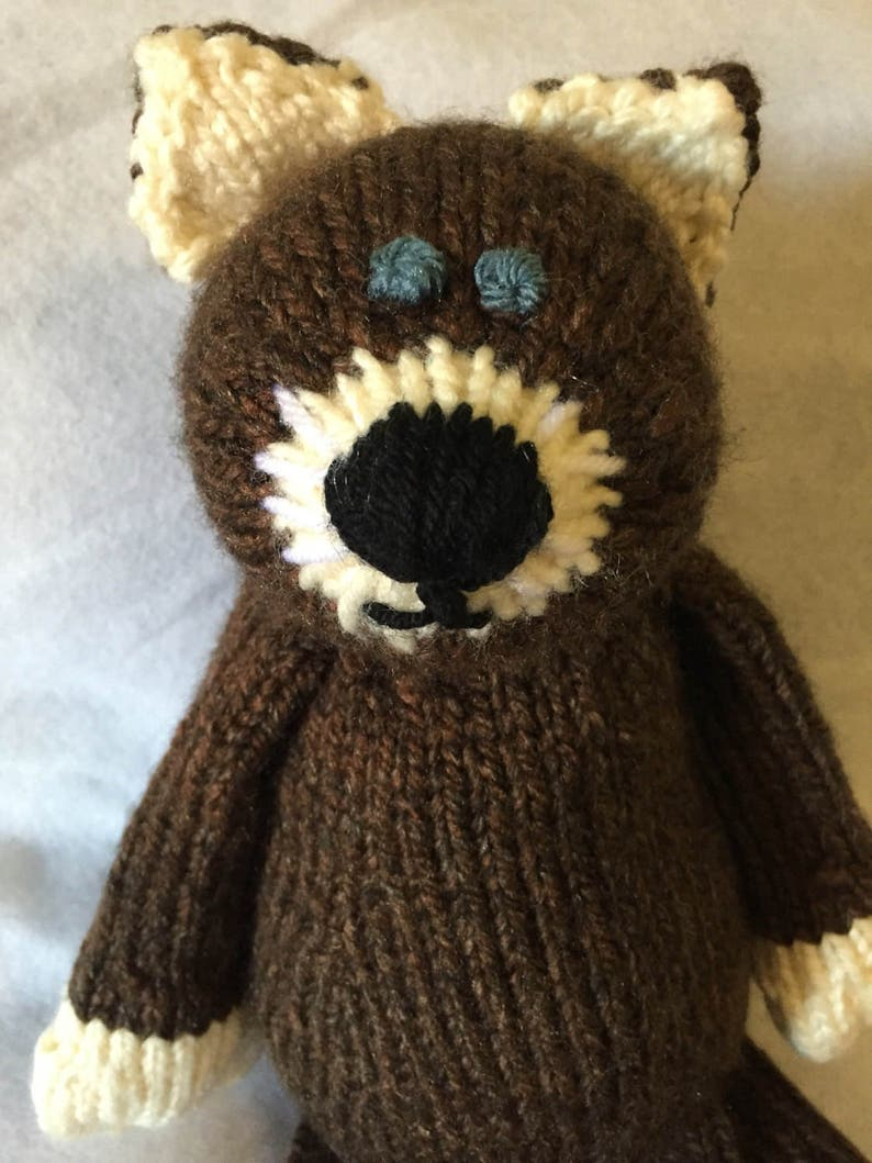 Brown Knitted Cat Stuffed Animal