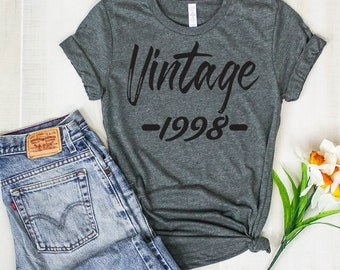 21st Birthday Gift For Her Him Vintage 1998 T Shirt Gifts Guys And Girls Shirts Custom