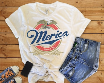 Merica Shirtmerica Shirtsmericamerica Millermerica Miller Shirtdrinking Tshirtbeer Shirtsfourth Of July