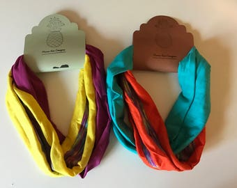 Stretchy pink or blue double fabric turban headband great for yoga workout fitness