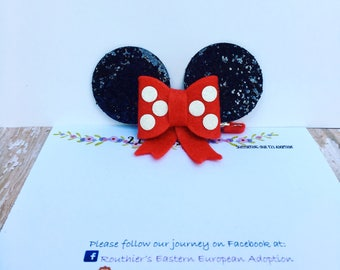 Minnie Mouse Ears Hair Clip| Bow- Choose Your Own Color| Disney Hair Accessory|  Disney Vacation| Photo Prop| Baby, Toddler, Girls