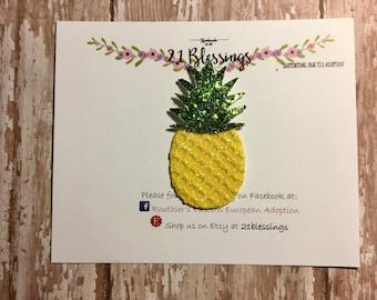 Pineapple Glitter Hair Accessory| Summer| Fruit| Nylon Headband OR Hair Clip|Baby, Toddler, Girls, Adult