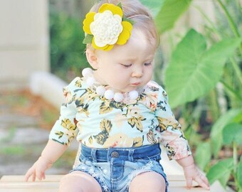 Double Center Big Wool Felt Flower Nylon Headband OR Hair Clip| Choose Your Own Colors|Baby, Toddler, Girls, Adult