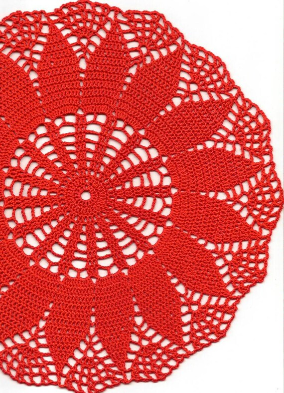 Chic Red Flower Hand Crochet Cotton Doily B