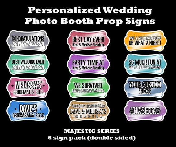 Personalized Photo Booth Wedding Prop Signs 6 Pack (double sided) Majestic  Series 1/4in PVC