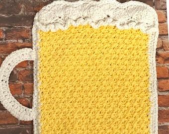 Beer Mug Placemat Pattern - Beer Beverage Hot Pad Pattern - Crochet Beer Pattern - Crochet Potholder Pattern
