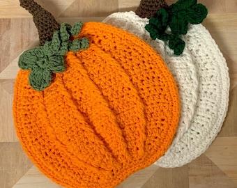Crochet Pumpkin Potholder Pattern - Crochet pumpkin Pattern - Crochet Farmhouse Pumpkin Trivet  Pattern
